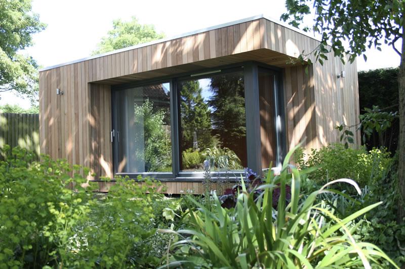 New garden office in mature garden